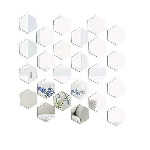 Pegatinas de Pared Espejo Vinilo Decorativo Espejo, 24Pcs Espejos Hexagonales de AcríLico Sin Vidrio Para DecoracióN de Pared, DIY, Para Sala de Estar, Dormitorio, Sofá, TV (20×17cm)
