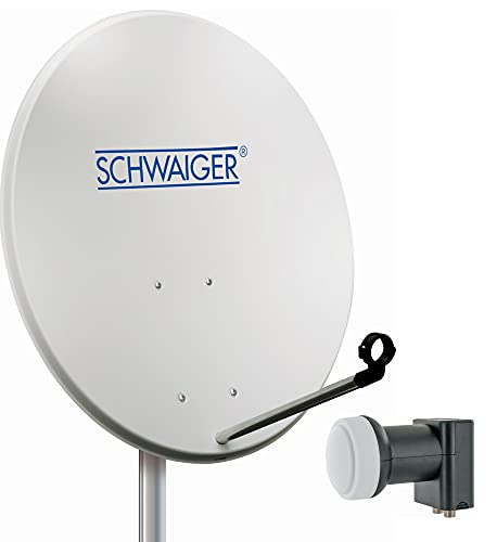 SCHWAIGER - Sat Anlage, Satellitenschüssel SPI993 mit Twin LNB (digital), Sat Antenne aus Aluminium, Hellgrau, 80 cm