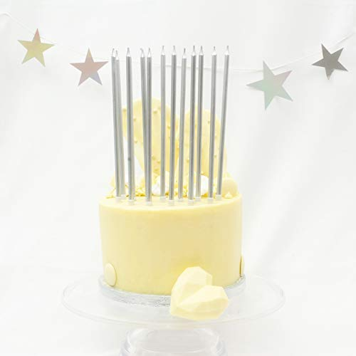 On The Wall Tall Silver Cake Candles with Holders (16 Pack)