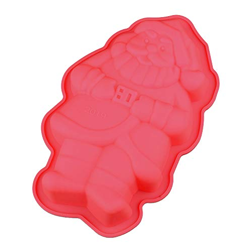 Santa Claus 3D Silicone Baking Cake Jelly Mould - Christmas Xmas Sponge Cooking Shaping Chocolate Fondant Moulding Shaping Bake Tool - Non Stick - Easy Clean - Dishwasher Safe - 16 x 10 x 4cm