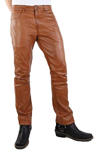 RICANO Slim Fit, Herren Lederhose in 5-Pocket Jeans Optik aus echtem Lamm Nappa Leder (Glattleder) (Schwarz, Grau, Cognac Braun) (Cognac Braun, 38)