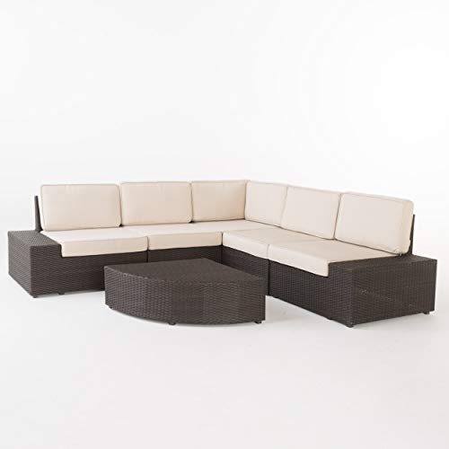 Christopher Knight Home 214311 Reddington Outdoor Wicker Furniture Set, Sectional and Table for Pati