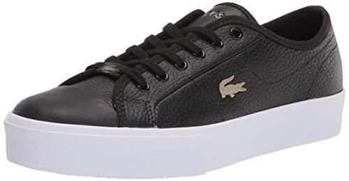 Lacoste womens Women's Ziane Plus Grand Sneaker, Black/White, 7.5 US