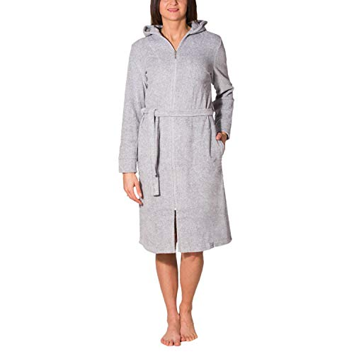 Aquarti Damen Bademantel mit Reißverschluss Lang, Farbe: Melange/Grau, Größe: XL