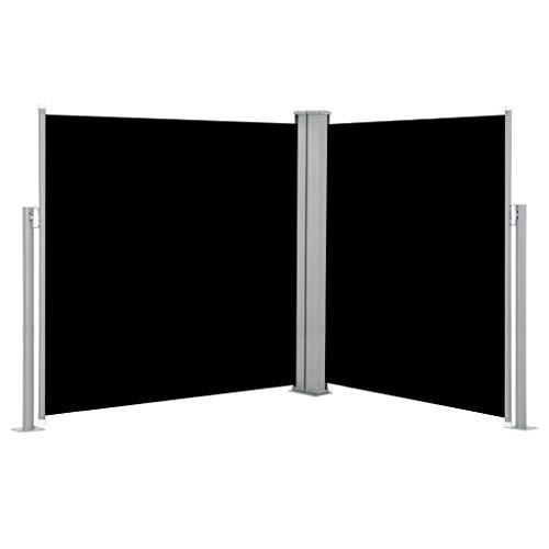 Festnight Sichtschutz Gartenzaun Markise Ausziehbare Seitenmarkise Doppelseitenmarkise 170 x 600 cm Schwarz/Anthrazit für Terrasse oder Balkon