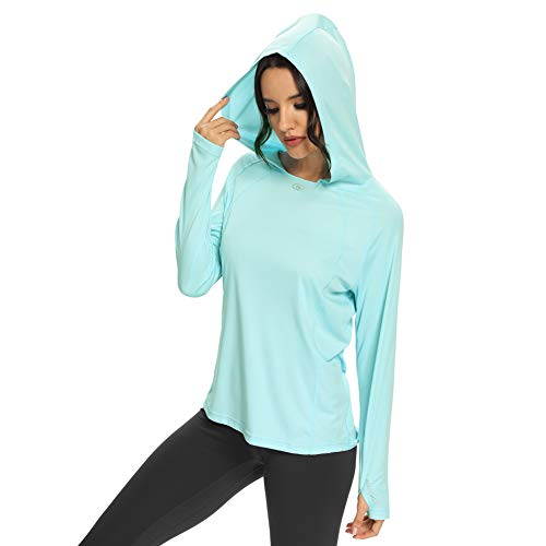M MAROAUT Women's UPF 50+ UV Sun Protection Hoodie Long Sleeve Hiking Shirt Lightweight Quick Dry Outdoor Running Fishing Green