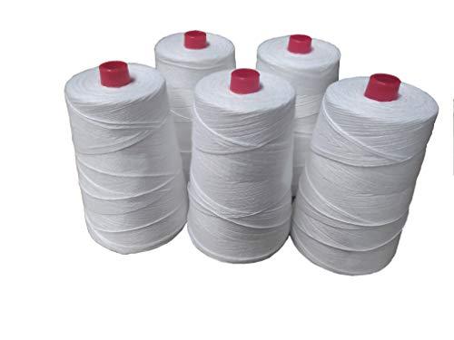 PAMPOLS Pack de 5 Bobinas de Hilo Grueso de Poliéster para Máquina Cosedora de Sacos, Cuerda de Alta Resistencia para Cerrar Costales, 5 Conos de 20/4 de 200gr, Color Blanco