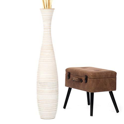 Leewadee jarrón Grande para el Suelo – Florero Alto y Hecho a Mano de Madera exótica, Recipiente de pie para Ramas Decorativas, 112 cm, White Wash