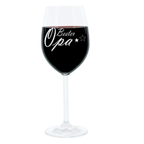 Leonardo Weinglas 400 ml, Bester Opa, Geschenk Stimmungsglas mit lustiger Gravur, Moodglas, 22 cm