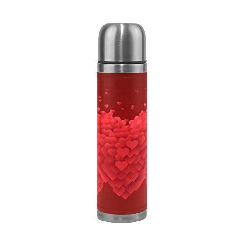 Ahomy Bouteille Isotherme à Double paroi en Acier Inoxydable Motif cœurs Rouges 0,5 l