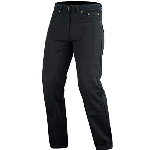 Bikers Gear Australia DKJ1001BLK-34L DKJ1001BLK-34L Pantaloni Jeans da Motociclista, Unisex adulto, Nero (Black), 34L UK / 44L EU