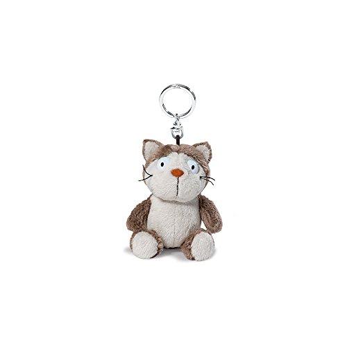 NICI 39018 Katze Plüsch Schlüsselanhänger, grau/beige