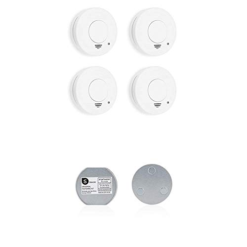 Smartwares FSM-11514 Rauchmelder/Feuermelder, 5 Jahre Batterie TÜV-Zertifiziert RM250/4, Weiß, 4er Pack + Magnetbefestigungsset für Rauchmelder, 6cm Durchmesser, Silber, 6 cm