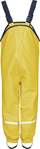 Playshoes Waterproof Rain Dungarees With Fleece Lining Rain Trouser Girl's, Yellow, 8 Years