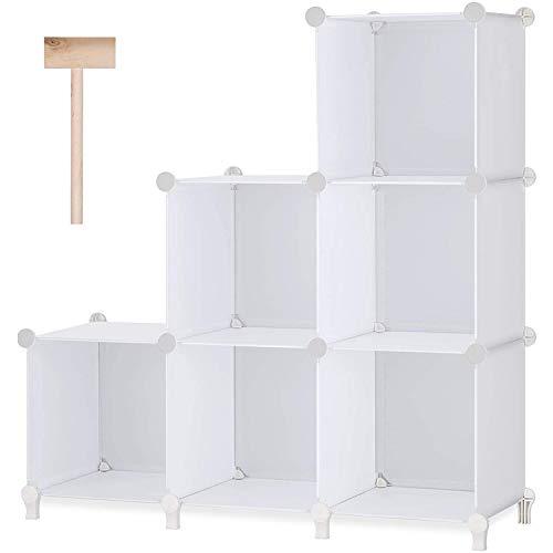 Hengqiyuan 6 Cubos Almacenamiento Cubos modulares, DIY Plástico Armario Organizador Estantes con Martillo de Madera, Librería apilable para la Oficina de la Sala de Estar de la habitación,Blanco