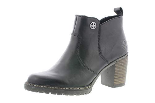 Rieker Damen Stiefeletten, Frauen Ankle Boots, Freizeit leger Stiefel halbstiefel Bootie knöchelhoch reißverschluss Lady,Schwarz,41 EU / 7.5 UK