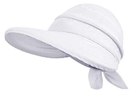 Simplicity Garden Hat Women's UPF 50+ UV Sun Protection Hat Beach Sun Hat Golf Hat Foldable Sun Hats for Women White