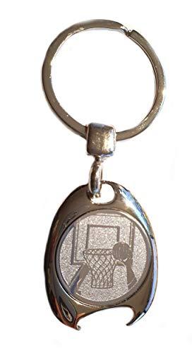 Basketball Motiv Schlüsselanhänger, silberfarben, in eleganter Geschenkbox mit Einkaufswagenchip und Flaschenöffner | Geschenk | Männer | Frauen | Sport | Chip | Einkaufschip | Öffner