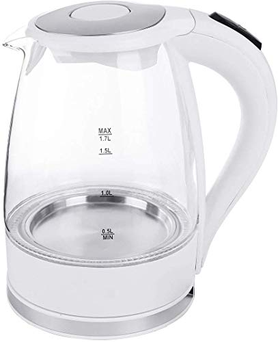 Mnjin Tragbarer Wasserkocher Glaskessel 1.7L 2200W LED beleuchteter Glaskessel Schnellkochkanne Schnurloser Wasserkocher Wasserkocher Teekanne Smart Kettle Kitchen