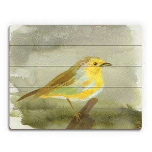 Cheyan Wood Pallet Design Wall Art Sign Plaque Watercolor Aureolin Robin Print of Painting on Wood 12' x 16'