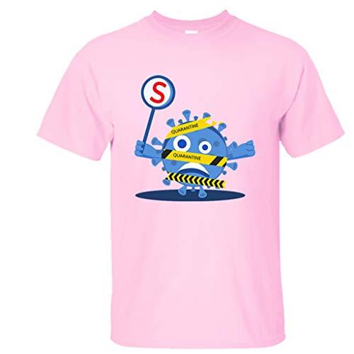 Rugby clothing boutique Q Virus 2020 I Was Camisa de COVID Hay-19 Camiseta de Cuello Redondo de Manga Corta Camiseta de la Tapa del Verano de Las Mujeres (Color : Pink, Size : XXS)