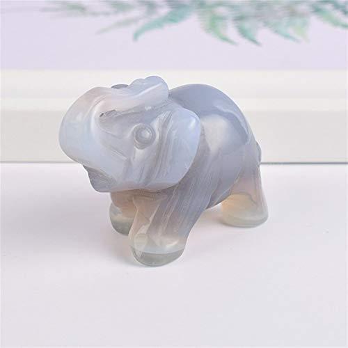 ABCBCA 1,5' Piedras de artesanía Piedra Preciosa Natural de ágata Gris Elefante figurilla Tallada Cristales de Cuarzo estatuas for decoración de la habitación (Color : 1 pcs)