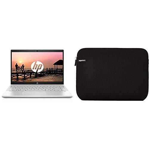 HP - Pavilion 14-ce1000nf - PC Portable - 14'' Full HD IPS Argent (Intel Core i5-8265U, RAM 8 Go, SSD 256 Go, Intel UHD 620) + AZERTY & Amazon Basics Housse pour Ordinateur Portable 35,6 cm (14')
