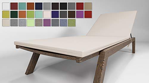 Rollmayer Sitzkissen für Sonnenliege Auflage Polster für Gartenliege Liegestuhl Strandliege Kollektion Vivid (Ecru 2, 190x54x4cm - 1 Stück)