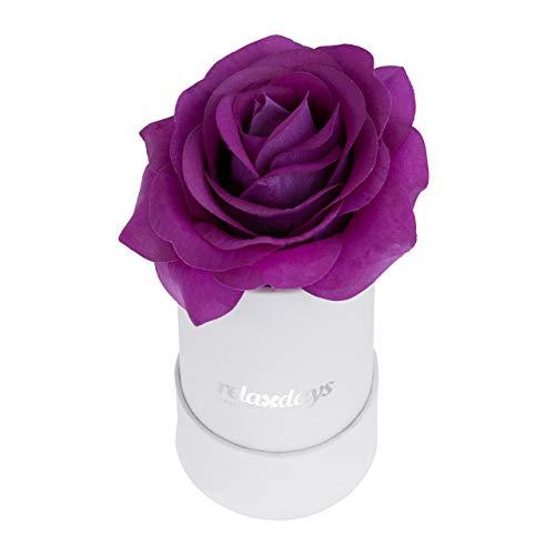 Relaxdays Box di Rose Rotondo, 1 Rosa, Bianco, Resistente 10 Anni, Idea Regalo, Box Decorativo, lilla
