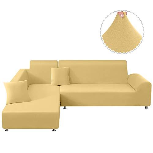TAOCOCO Sofa Überwürfe Sofabezug Elastische Stretch Sofabezüge für L-Form Sofa Abdeckung 2er Set für 3 Sitzer + 3 Sitzer mit 2 Stücke Kissenbezug (Beige)