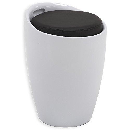 IDIMEX Sitzhocker Arbeitshocker Badhocker Badschemel Stauraumhocker Daniel, mit Stauraum und Sitzkissen in weiß/schwarz