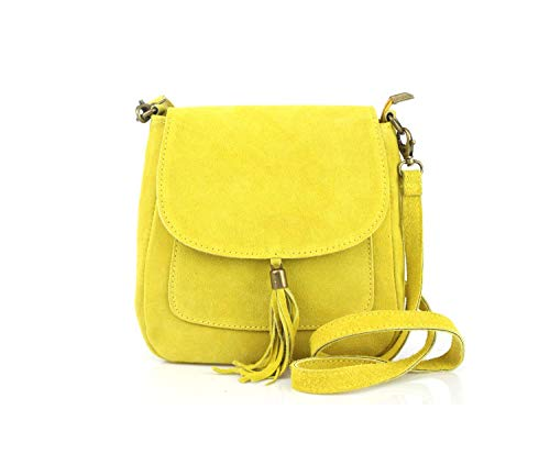Made in Italy Damen Leder Tasche Messenger Bag Henkeltasche Wildleder Handtasche Umhängetasche Ledertasche Schultertasche Beuteltasche Fransen Cross-Over Gelb