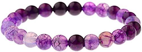 Pulsera de Piedra Mujer, 7 Chakra Piedra Natural Beads Púrpura Turmalina Brazalete Elástico Joyería Lucky Joyería Orga Energía Energía Balance Reiki Charm Diffuser Regalo para un Amigo