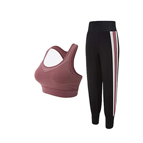 Guiran Femme Yoga Ensembles Sportswear Gym Athletisme Fitness Jogging Survêtement Rose(Soutiens-Gorge+Pantalon) M