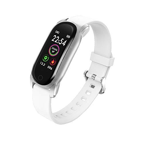 YNLRY Reloj inteligente para mujer, resistente al agua, monitor de ritmo cardíaco, podómetro, pulsera de lujo, reloj inteligente para Android IOS (color: blanco)