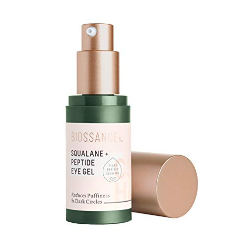 Biossance Squalane + Peptide Eye Gel - Ultra-Hydrating Eye Gel for Puffiness + Dark Circles - No Parabens + Fragrance-Free (15ml)