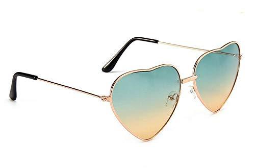 Gafas de sol retro de metal love, gafas de sol con pieza de océano en forma de corazón de melocotón para mujer, oro rosa, verde superior e inferior amarillo