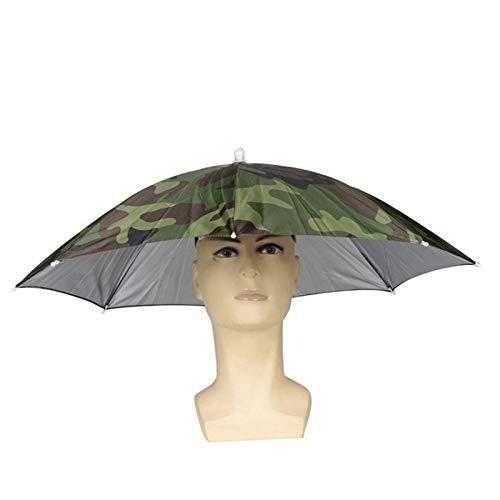 Wuudi Hat Regenschirm Faltbar Sonne Regen Regenschirm Cap Verstellbar Angelschirm Hat Outdoor mit Kopfbedeckungen für Erwachsene und Kinder