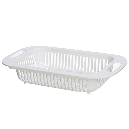 Kcakek Retractable Drain Mand for Kitchen Sink Vaatwasser Sink Rechthoekige Water Filter Basket Retractable Drain Basket Drain Basket for Kitchen Sink Accessoires Bad & Keuken (Color : White)