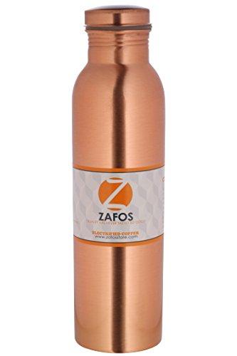 Zafos Copper Water Bottle, 1 Litre, Brown (PlainCopper-1L)