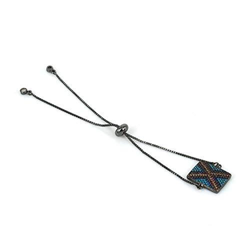 RQWY Armband Cz Pflastern Rechteck Stecker Big X Muster Tag Link Einstellbare Armband Für Frauen Mann Hand Schmuck