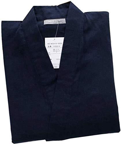 SCRT Schlafanzüge. Japanischer Frühling und Herbst Männer Kimono Baumwolle Doppel-Gaze-Pyjama Thin Section Steaming Kleidung Bademantel A (Color : Photo Color, Size : Large)