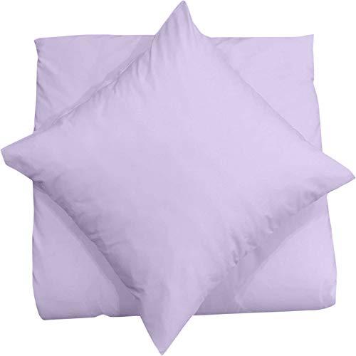 Mixibaby Kissenbezug 40X40 2er Set Dekokissen Kissenhülle Kissen Bezug 100% Baumwolle, Farbe Bettwäsche:Lila