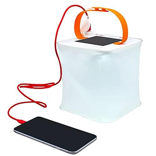 Funien Linterna inflable de luz, linterna inflable solar portátil, cargador de teléfono USB, 4 modos de iluminación, lámpara de camping plegable para viajes de emergencia camping