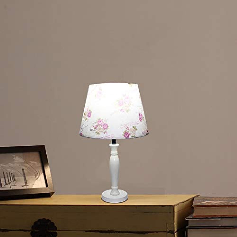 Lámpara de mesa estilo moderno, novedad, tela de madera maciza retro LED estudio de flores dormitorio sala de estar oficina hotel