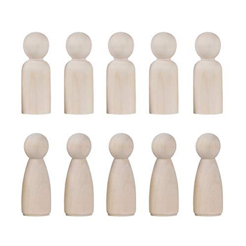 Toyvian Holzfiguren Spielfiguren DIY Figuren Deko zum Basteln Holz Puppen zum Bemalen Figurenkegel für Hochzeit Geburtstag Dekoration 20 Stücke