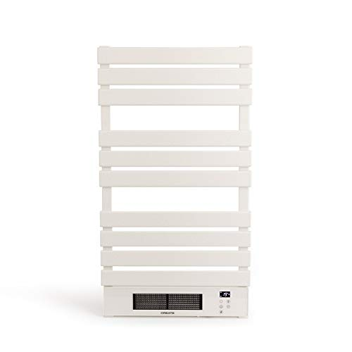IKOHS WARMTOW - Toallero Eléctrico Bajo Consumo, 500 W, WiFi, Secador de Toallas, Secado Potente, Pantatalla LCD, IP24 antisalpicaduras, Apto para Baños, Programable, Temporizador (Blanco Pro)