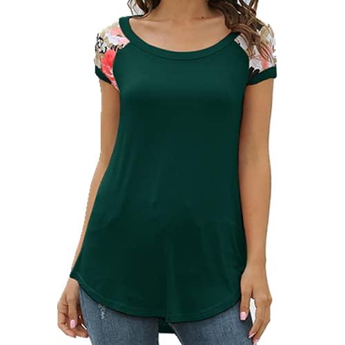 N\P Casual Verano Camiseta De Manga Corta O-Cuello Impreso Patchwork T-Shirt