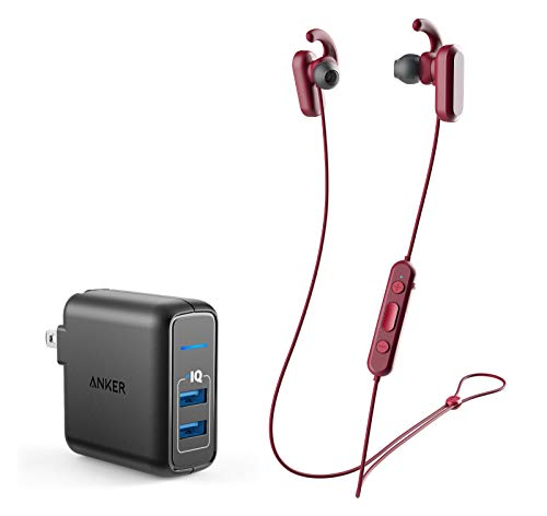 Skullcandy Method ANC Wireless Bluetooth in-Ear Noise Cancelling Headphones Bundle with Anker PowerPort Elite 2 Ports USB Wall Charger - Moab/Red/Black