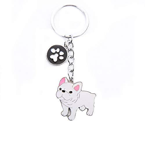 Mummumi Pet Keychain, Dog ID Tag Keychain Ring Creative Lovely Dog Key-Ring Portable Metal Key Decor Car Keying Gift (White French Bulldog)